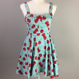 ModCloth Ixia cherry fit and flare pin up dress S